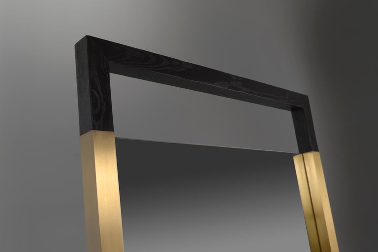 Black Ashwood Standing Mirror with Brass Inlay