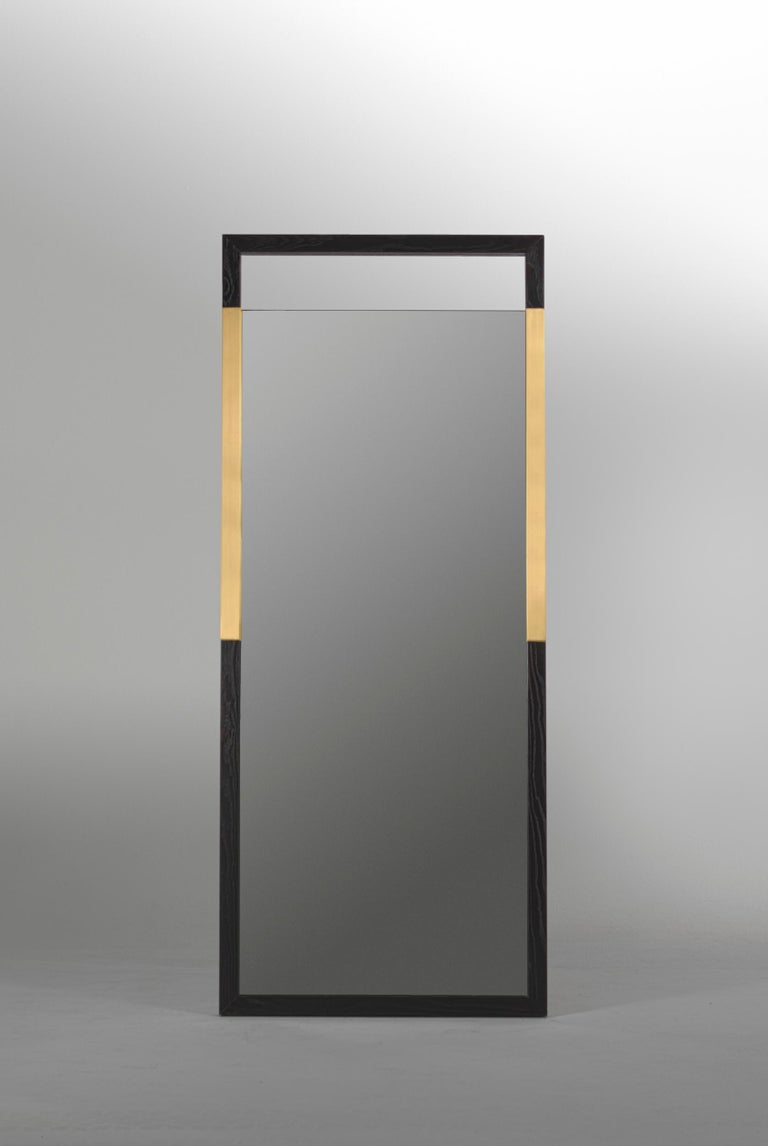 Contemporary Black Ashwood Standing Mirror with Brass Inlay
