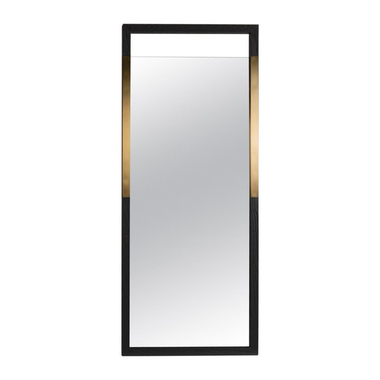 """Black Ashwood Standing Mirror with Brass Inlay """"Broadway Standing Mirror"""" For Sale"""