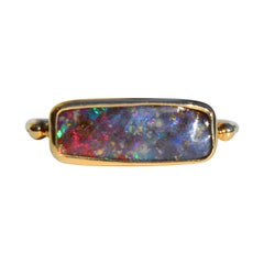 Black Australian Boulder Opal East West 14 Karat Gold Signet Ring