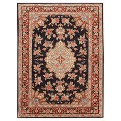 Black Background Vintage Persian Tabriz Rug. 4 ft 8 in x 6 ft 4 in