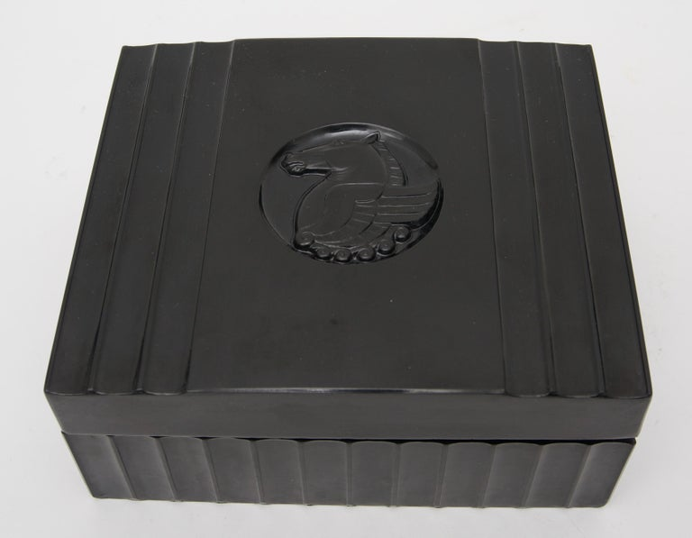 Molded Black Bakelite American Art Deco Storage Box For Sale