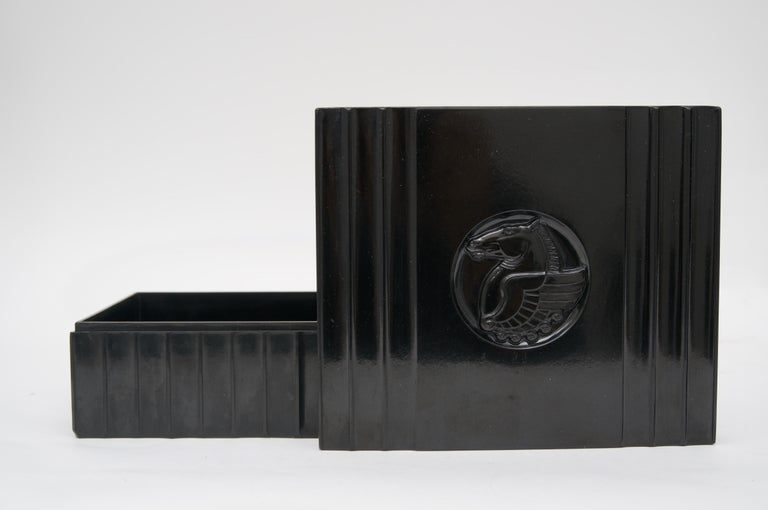 20th Century Black Bakelite American Art Deco Storage Box For Sale