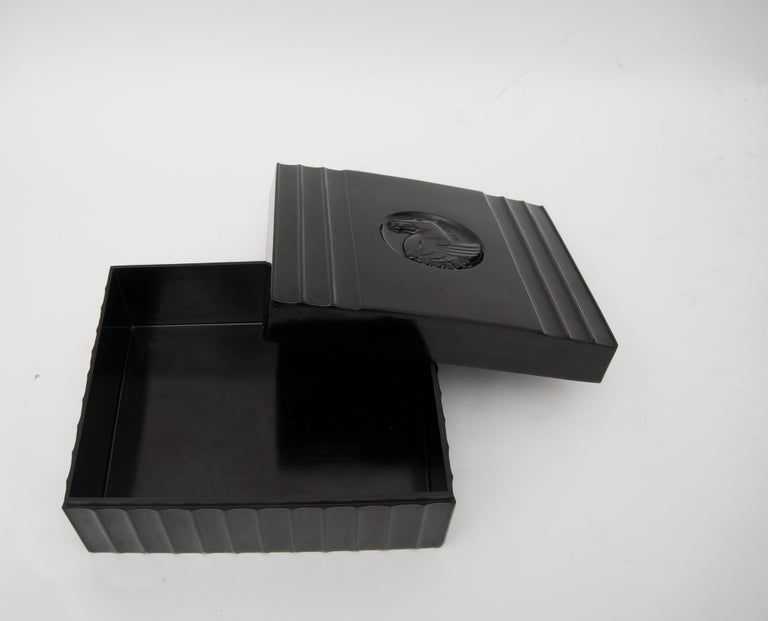 Black Bakelite American Art Deco Storage Box For Sale 2