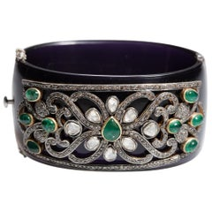 Black Bakelite Cuff Bracelet with Diamonds and Emeralds