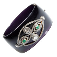 Black Bakelite Cuff Clamper Bracelet with Diamond and Emerald Evil Eye