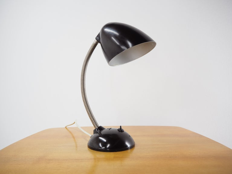 Bauhaus Black Bakelite Table Lamp by Eric Kirkman Cole, Czechoslovakia, 1950s For Sale