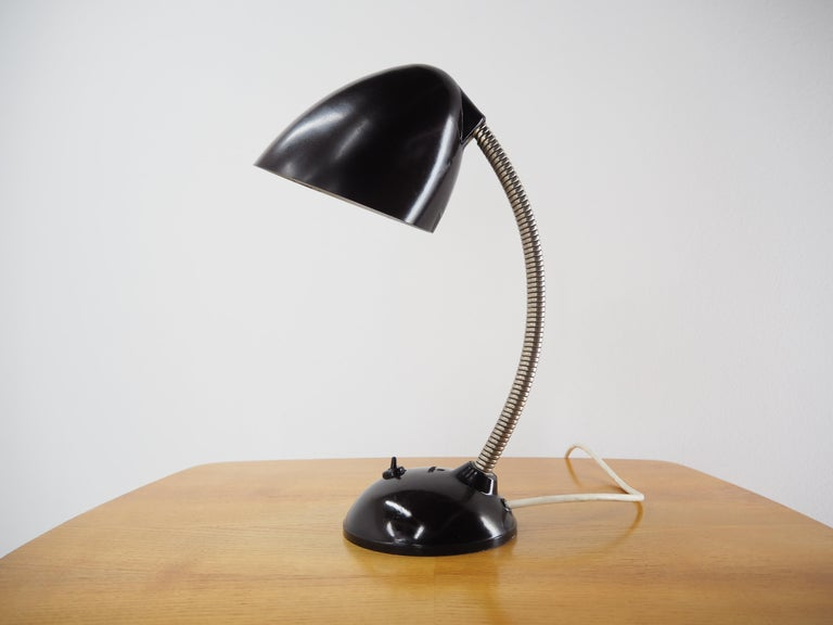 Black Bakelite Table Lamp by Eric Kirkman Cole, Czechoslovakia, 1950s In Fair Condition For Sale In Praha, CZ
