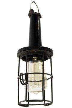 Black Bakelite Vintage Industrial Metal Cage Work Lights