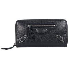 Black Balenciaga Classic Moto Leather Wallet