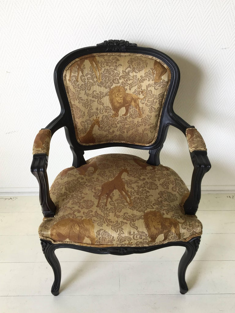 Spanish Black Baroque Armchair with Wildlife Designed Fabric by Ascension Latorre, Spain For Sale