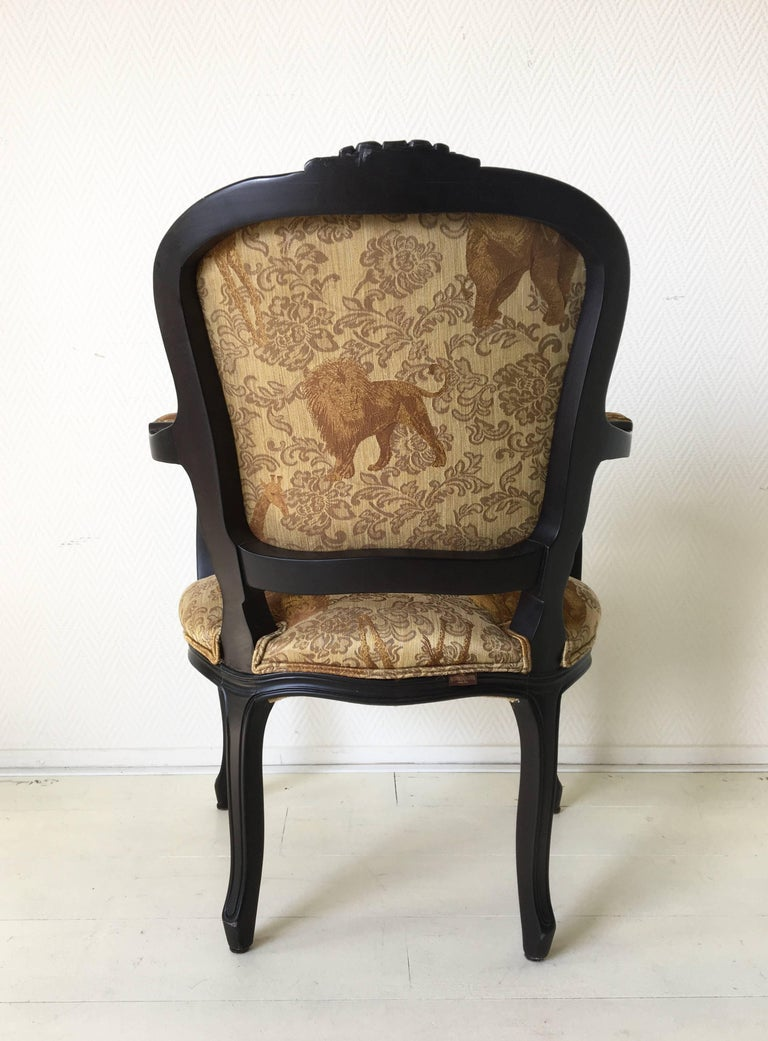Contemporary Black Baroque Armchair with Wildlife Designed Fabric by Ascension Latorre, Spain For Sale