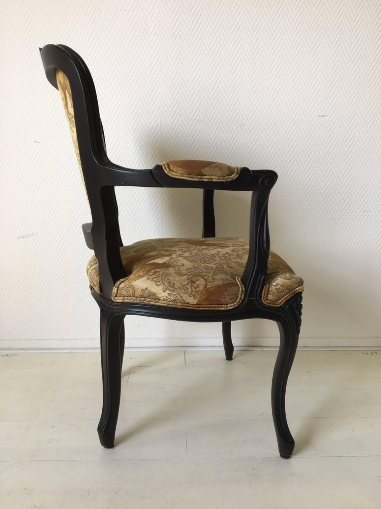 Wood Black Baroque Armchair with Wildlife Designed Fabric by Ascension Latorre, Spain For Sale