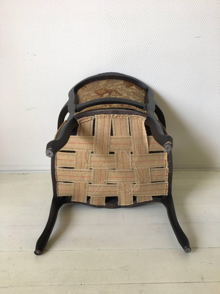 Black Baroque Armchair with Wildlife Designed Fabric by Ascension Latorre, Spain For Sale 2