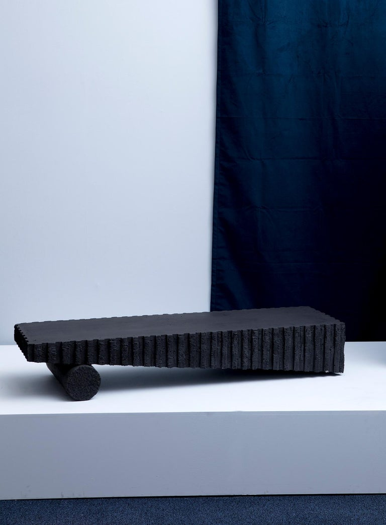 Cast Black Beach Modern Low Coffee or Occasional Table in Concrete by Desirée Garcés For Sale