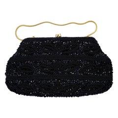 Black Bead and Sequin Handbag / Clutch Bag Hand Made in Hong Kong circa 1960s