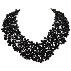 Black Bead Costume Collar Bib Statement Necklace