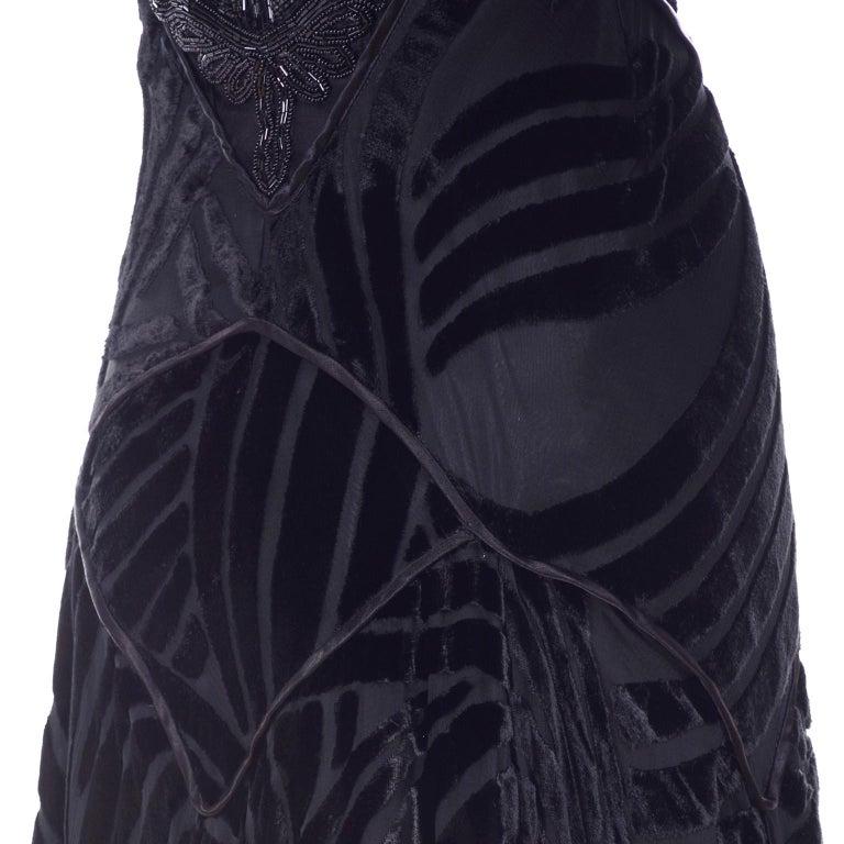Black Beaded Burnout Velvet Evening Dress w Statement Sleeves & Handkerchief Hem For Sale 6
