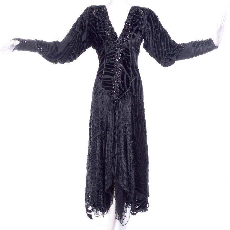 Black Beaded Burnout Velvet Evening Dress w Statement Sleeves & Handkerchief Hem For Sale 7