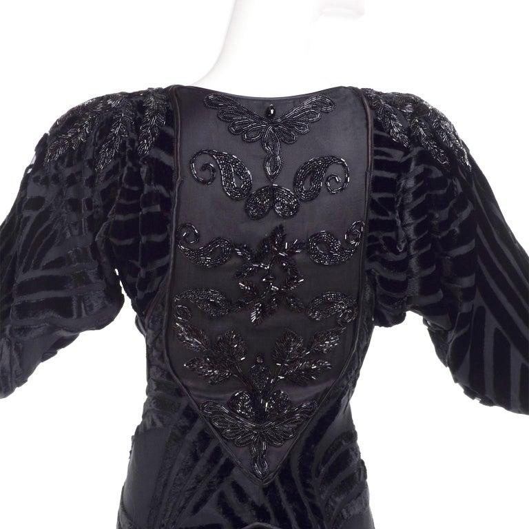 Women's Black Beaded Burnout Velvet Evening Dress w Statement Sleeves & Handkerchief Hem For Sale