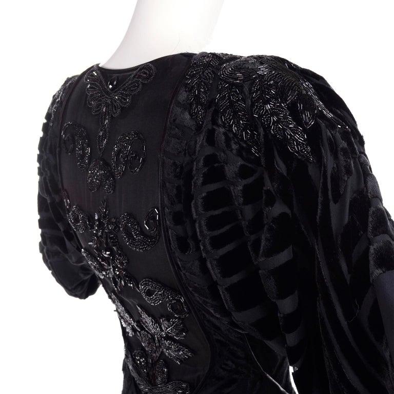Black Beaded Burnout Velvet Evening Dress w Statement Sleeves & Handkerchief Hem For Sale 1