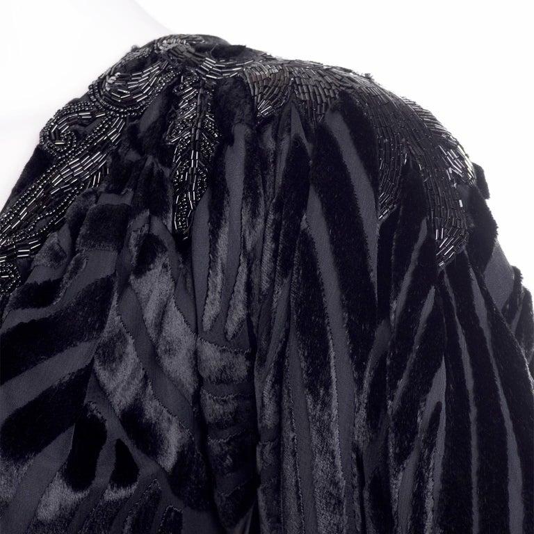 Black Beaded Burnout Velvet Evening Dress w Statement Sleeves & Handkerchief Hem For Sale 4