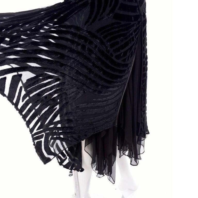 Black Beaded Burnout Velvet Evening Dress w Statement Sleeves & Handkerchief Hem For Sale 5