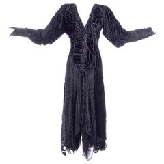 Black Beaded Burnout Velvet Evening Dress w Statement Sleeves & Handkerchief Hem