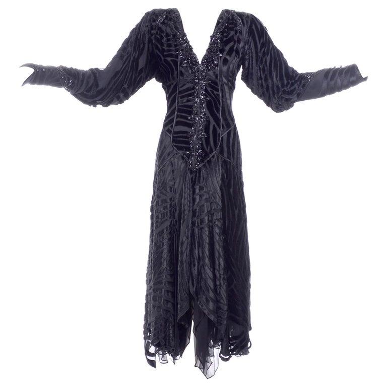 Black Beaded Burnout Velvet Evening Dress w Statement Sleeves & Handkerchief Hem For Sale
