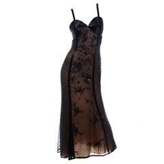 Black Beaded Sheer Evening Dress over Beige Under dress w Heavily Beaded Bodice