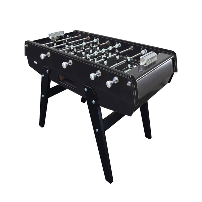 Modern Black Beech wood Foosball Table with Aluminium Handles, Made in France For Sale