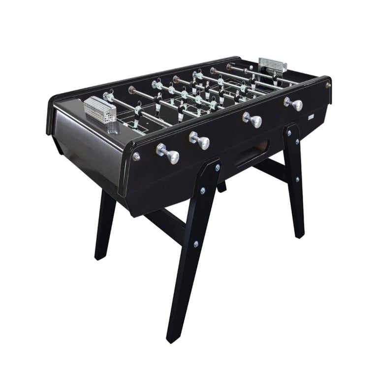 Italian Black Beech wood Foosball Table with Aluminium Handles, Made in France For Sale