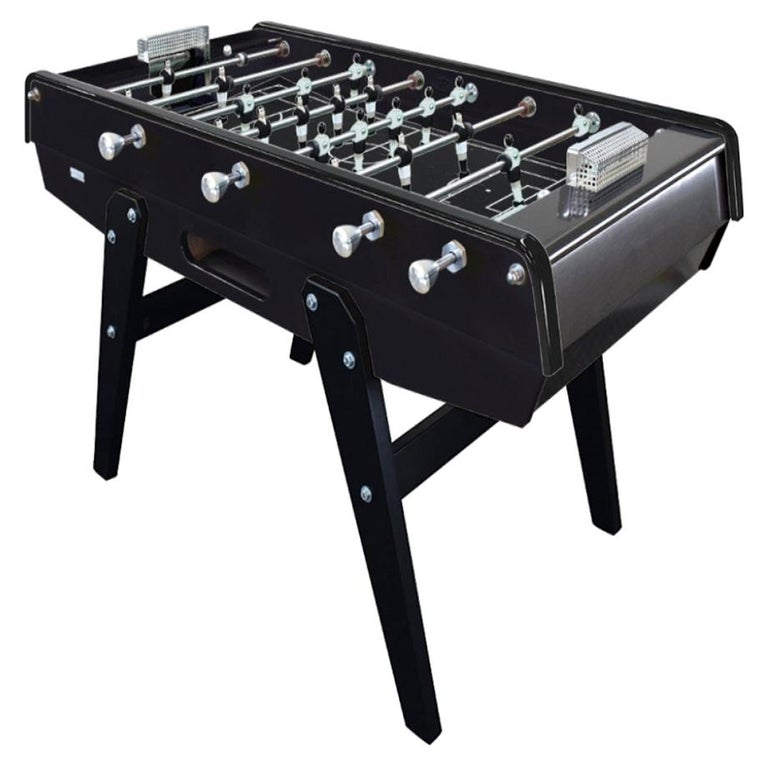 Black Beech wood Foosball Table with Aluminium Handles, Made in France For Sale