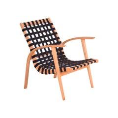 Black/Beige Midcentury Beech Chair, Vaněk, Perfect Original Condition, 1930s
