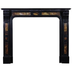 Black Belgian Marble and Onyx Decorative Vintage Fireplace Surround
