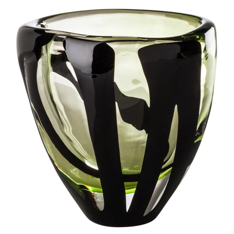Black Belt Small Vase in Green and Black by Peter Marino For Sale