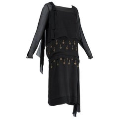 Black Bespoke Egyptian Revival Blouson Dress with Metal Eyelets - S, 1924