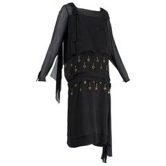Black Bespoke Egyptian Revival Blouson Dress with Metal Eyelets - S, 1924