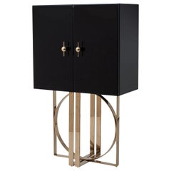 Black Bevelled Mirrored and Gilded Finishes Bar Cabinet