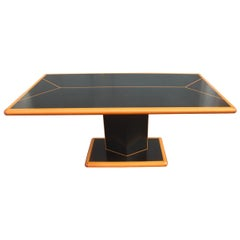 Black Big Rectangular Table and Natural Wood Rhombus Base Laminate 1970 Maple