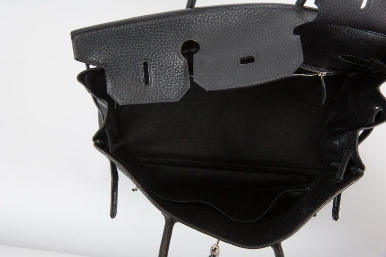 Black Birkin 40cm Hermes Fjord Leather Palladium Hardware 2006s For Sale 6