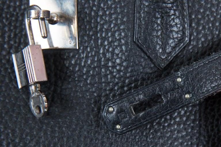 Black Birkin 40cm Hermes Fjord Leather Palladium Hardware 2006s For Sale 7