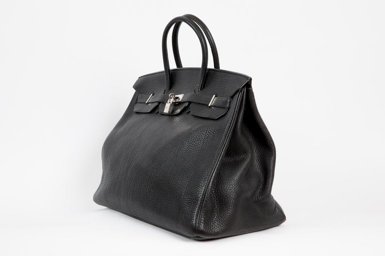 2006s Hermes black Fjord leather Birkin 40cm featuring palladium hardware, turn lock, with key & cadenas. inside in  leather compartments, dual rolled handles, frontal flap,  inside stamp Hermes Paris Made in France Date stamp reads: J Square