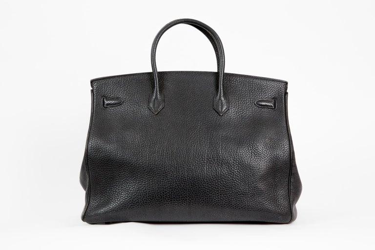 Black Birkin 40cm Hermes Fjord Leather Palladium Hardware 2006s In Good Condition For Sale In Paris, FR