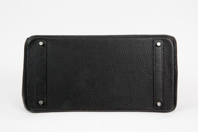 Black Birkin 40cm Hermes Fjord Leather Palladium Hardware 2006s For Sale 1