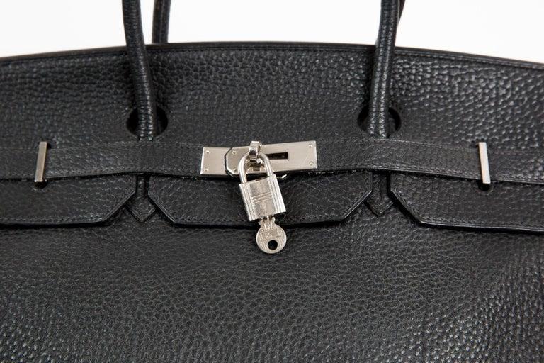 Black Birkin 40cm Hermes Fjord Leather Palladium Hardware 2006s For Sale 2