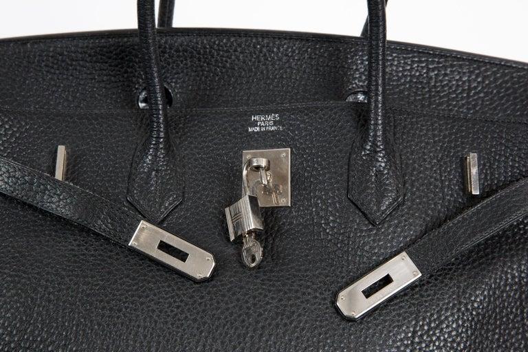 Black Birkin 40cm Hermes Fjord Leather Palladium Hardware 2006s For Sale 3
