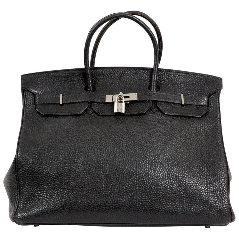 Black Birkin 40cm Hermes Fjord Leather Palladium Hardware 2006s For Sale