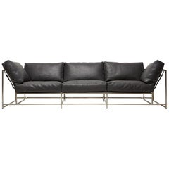 Black Bison Leather and Antique Nickel Sofa