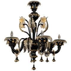 Black Blown Glass Murano Chandelier
